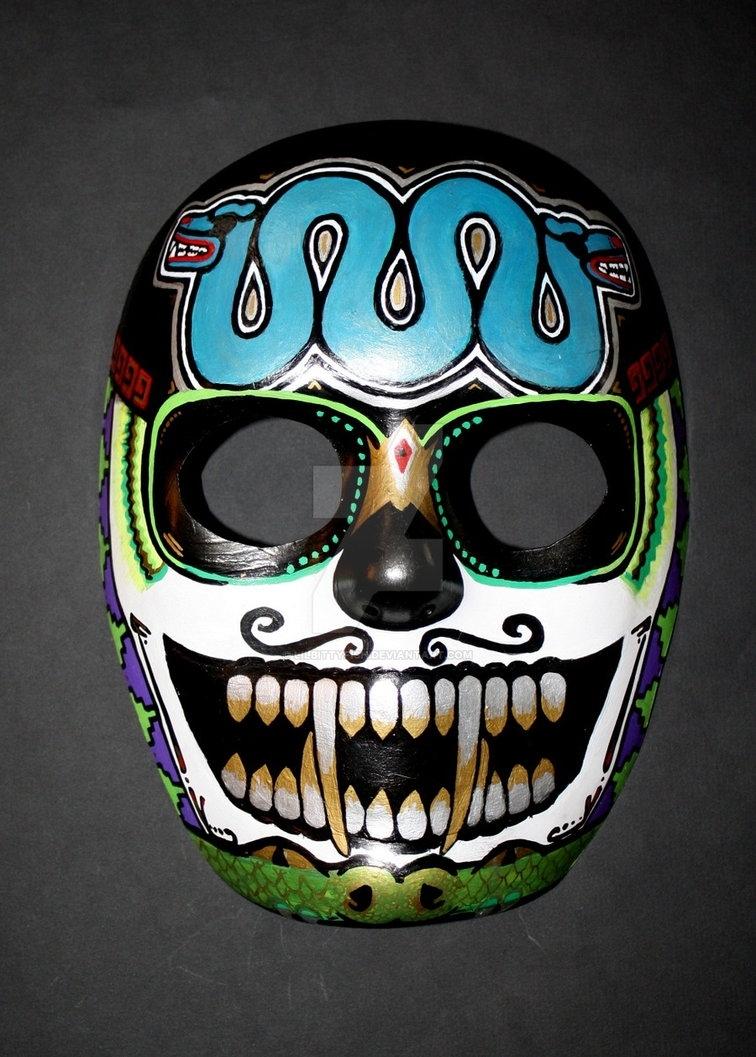 Custom Aztec Skull Masklilbittyfish On Deviantart for Aztec Masks And Ther Meanings