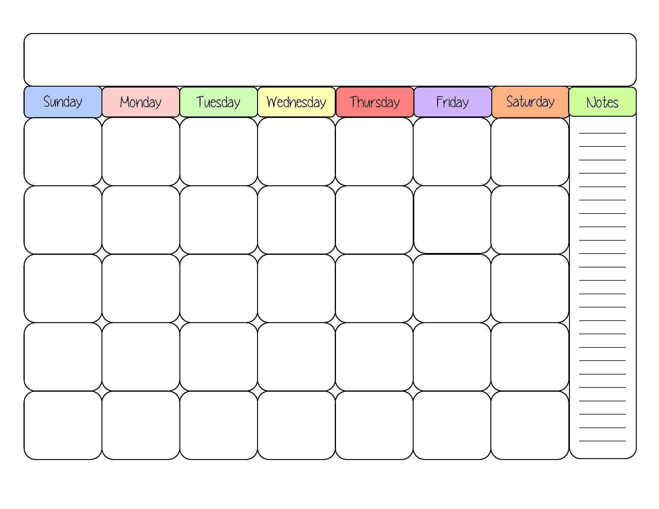 Cute-Blank-Calendar-Templates | Good Ideas | Printable Calendar intended for Blank Bill Calendar Printable Colorful
