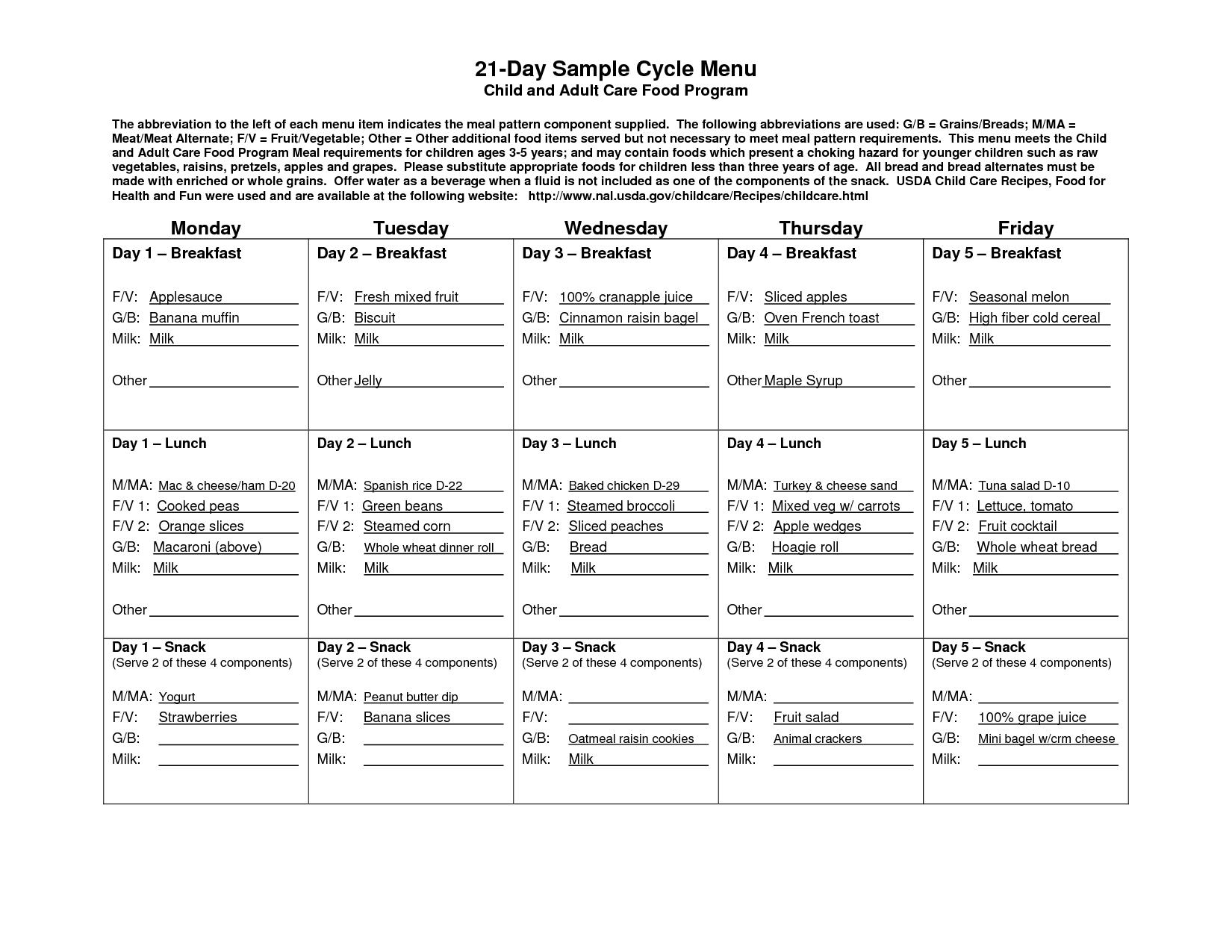 Cycle Menu Template | 21-Day Sample Cycle Menu - Pdf | Food In 2019 pertaining to Monthly 5 Week Menu Rotation Template
