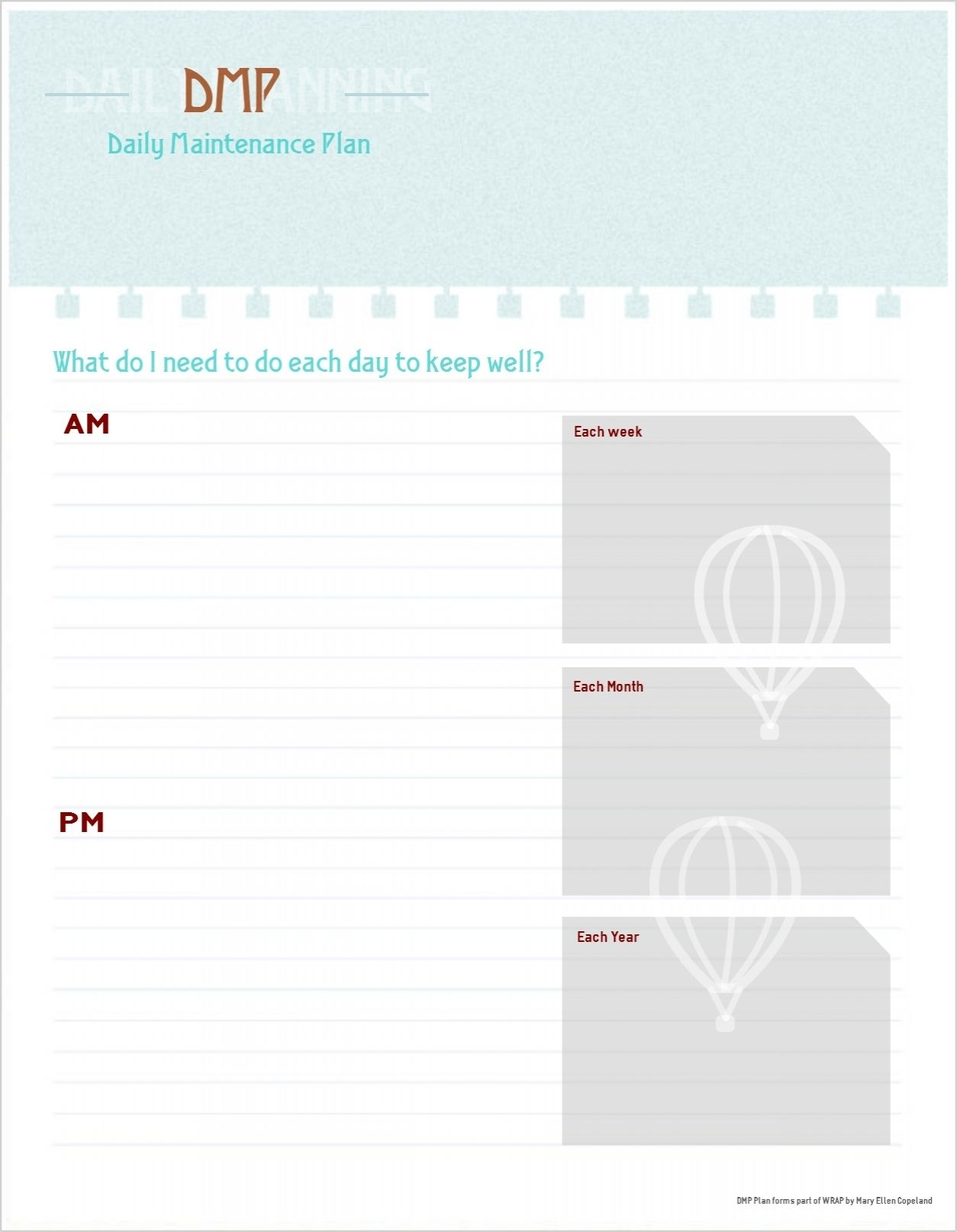 Daily Maintenance Plan Template- Free Printable. | Good Idea inside Blank Weekly Calendar For Structured Recovery