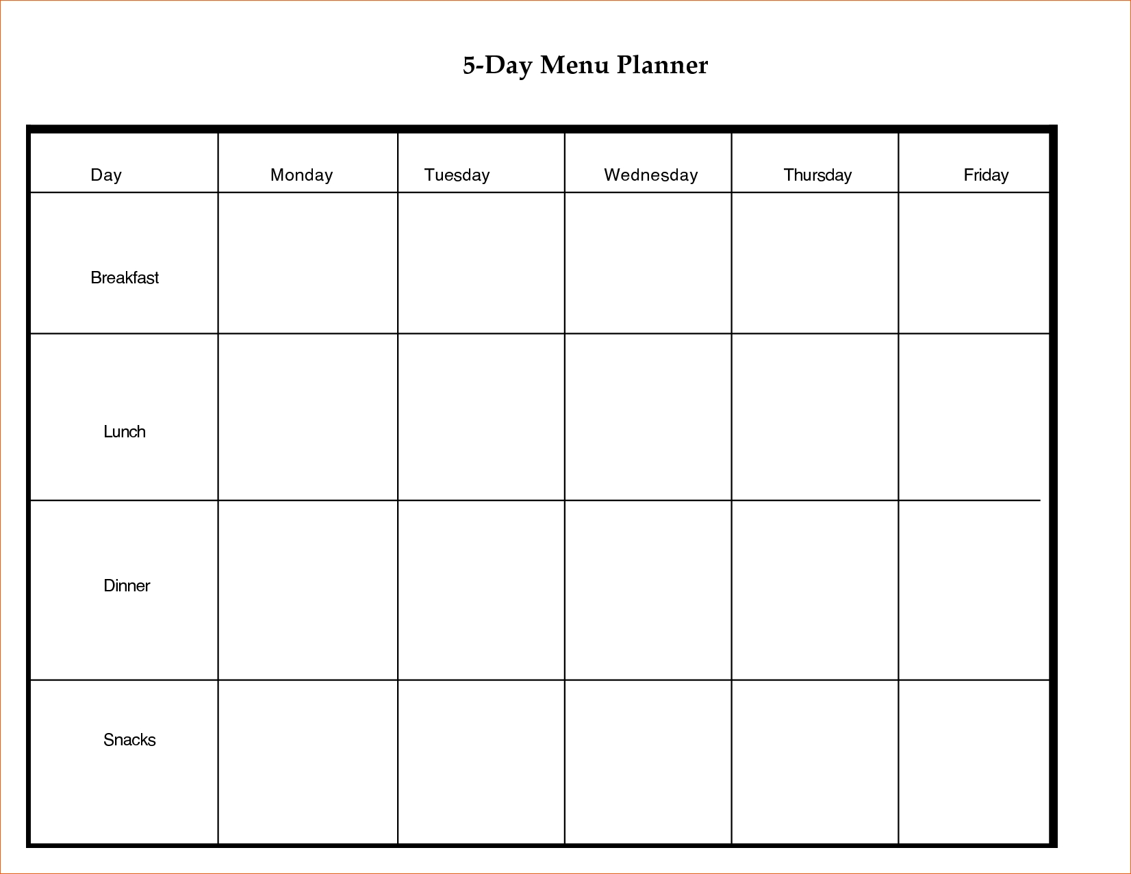 Day Calendar Mplate Memo Formats Planner Hourly Meal Menu Week Trip within 5 Day Weekly Schedule Template