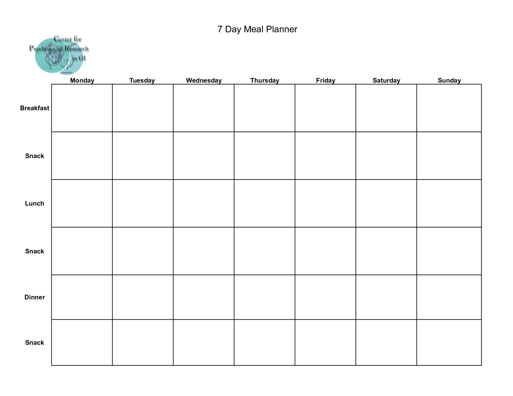 Day Meal Planner Template Excel Study Plan Food Schedule Free Pdf with 7 Day Meal Planner Template