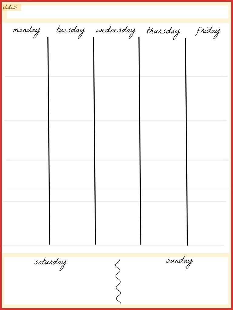 Day Planner Template Free Printable Calendar Pages Blank Week Pdf with Free Printable 5 Day Calendar Pages