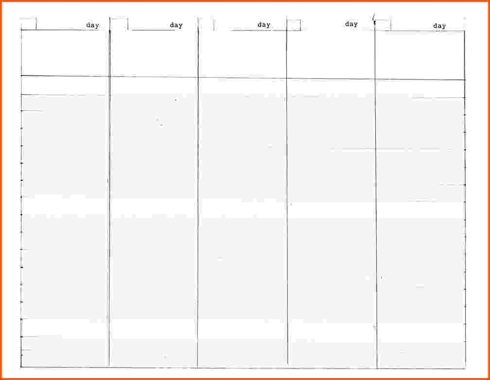 Day Weekly Dar Template Free Schedule Templates For Word And Blank throughout Free 5 Day Calendar Template