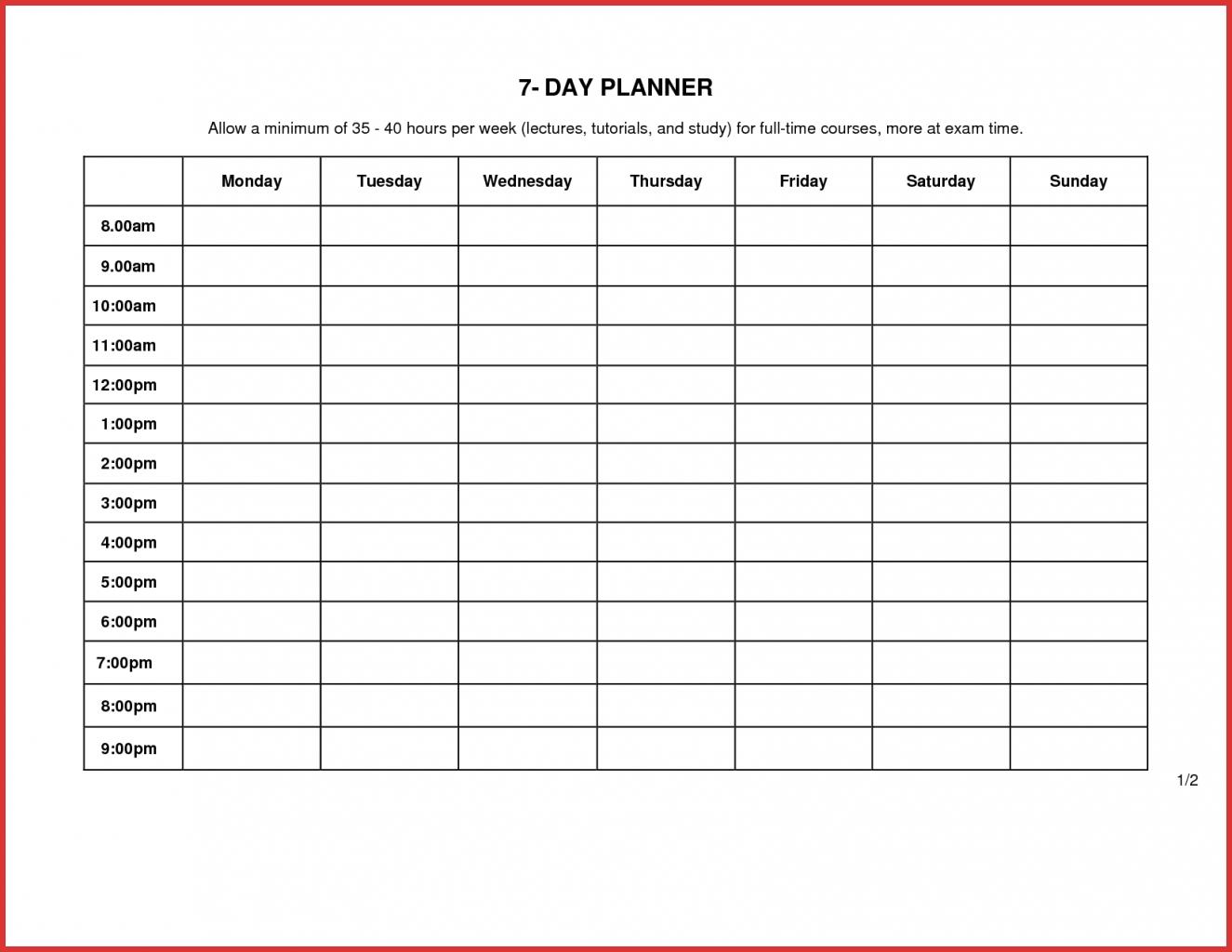 Day Weekly Schedule Template Elegant Blank Calendar Of Meal Planner with regard to 7 Day Week Blank Calendar Printable