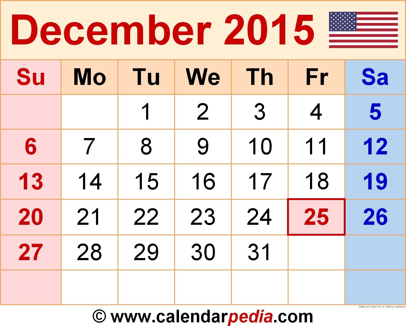 December 2015 Calendars For Word, Excel & Pdf in Fillable Monthly Calendar December 2015