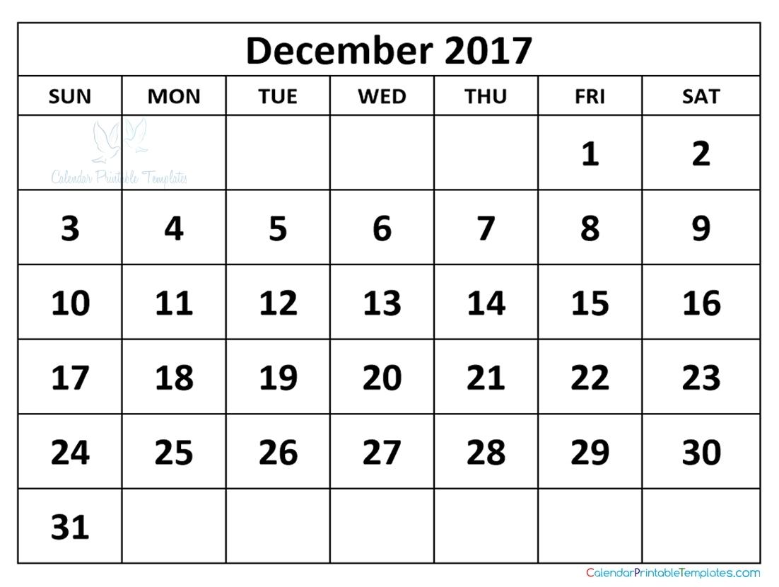 December 2017 Calendar Pdf | Printable Calendar Template within Printable Nov Dec 17 Calendar