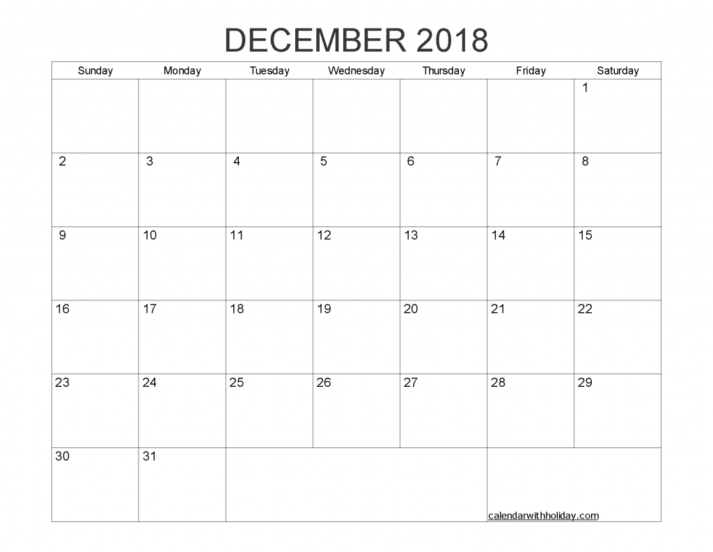 December 2018 Blank Calendar Printable Pdf, Word, Image | Free with Pdf Blank Calendar Without Months