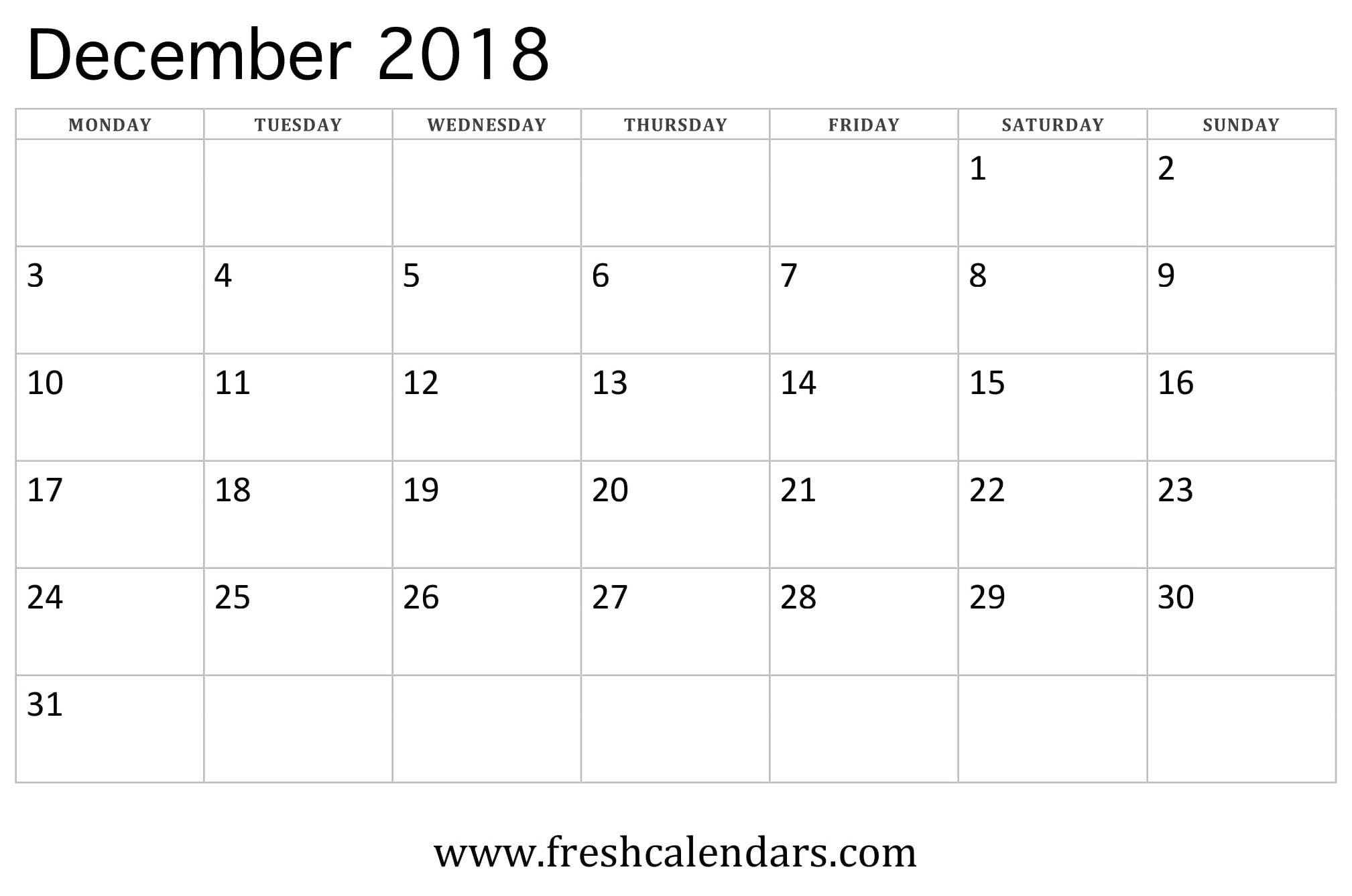 December 2018 Calendar Printable - Fresh Calendars for Printable Calendars By Month And Week
