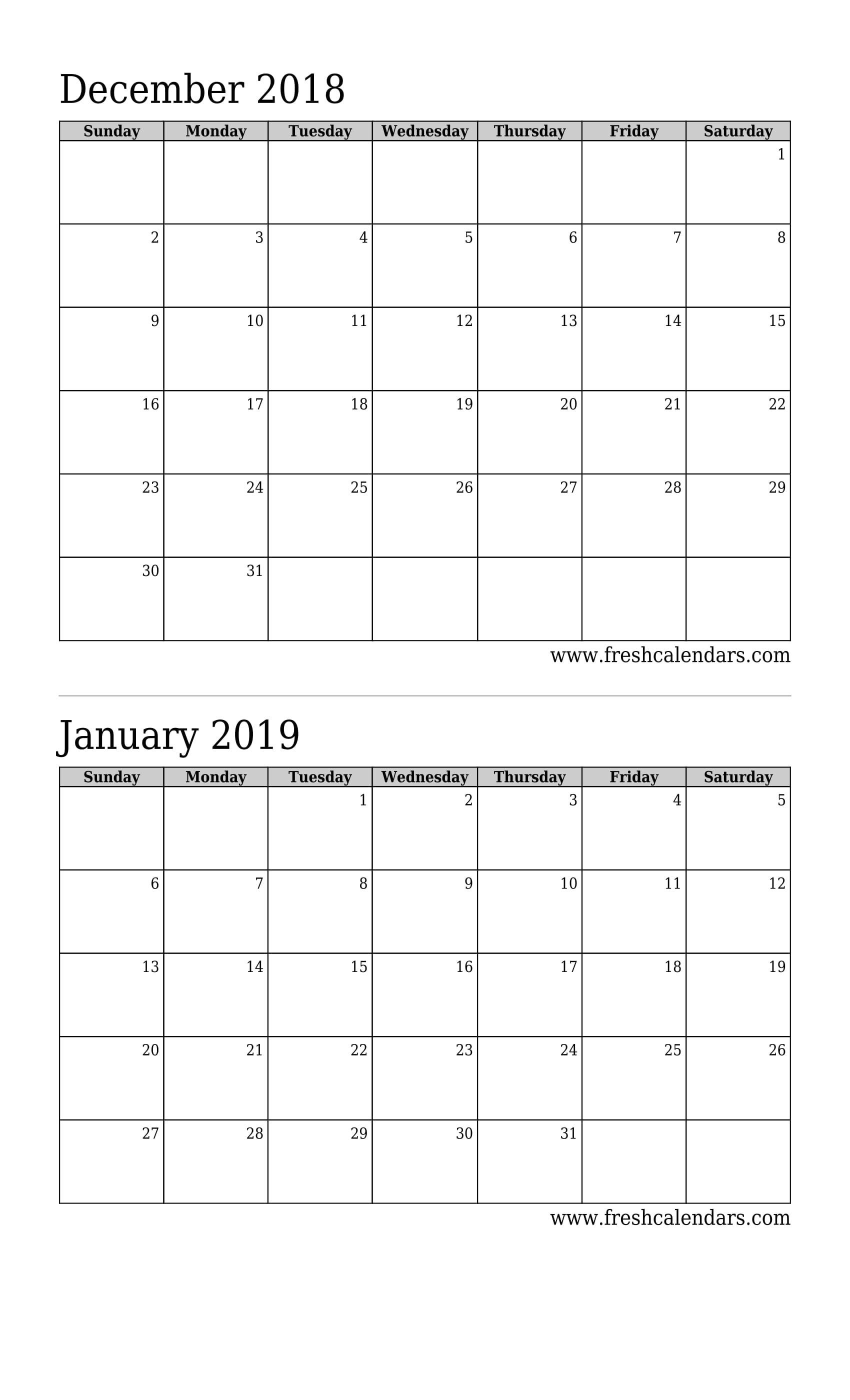 December 2018 Calendar Printable - Fresh Calendars regarding 2 Month Calendar Template Printable