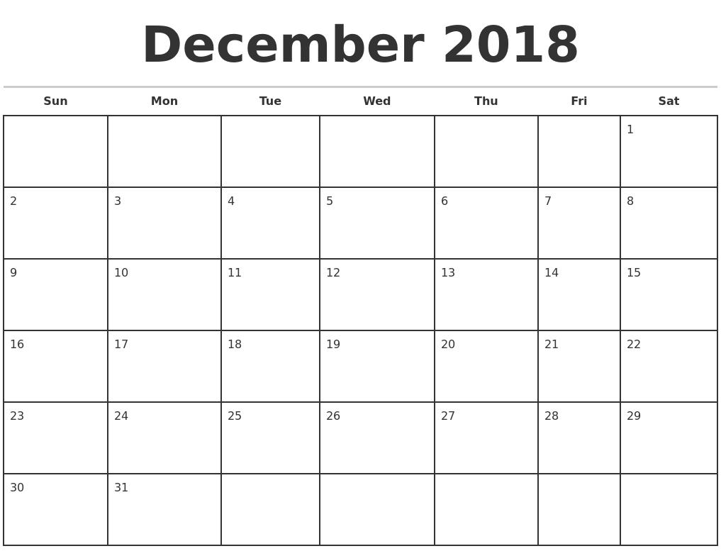December 2018 Monthly Calendar Template inside Monthly Calendar Templates Monday To Friday