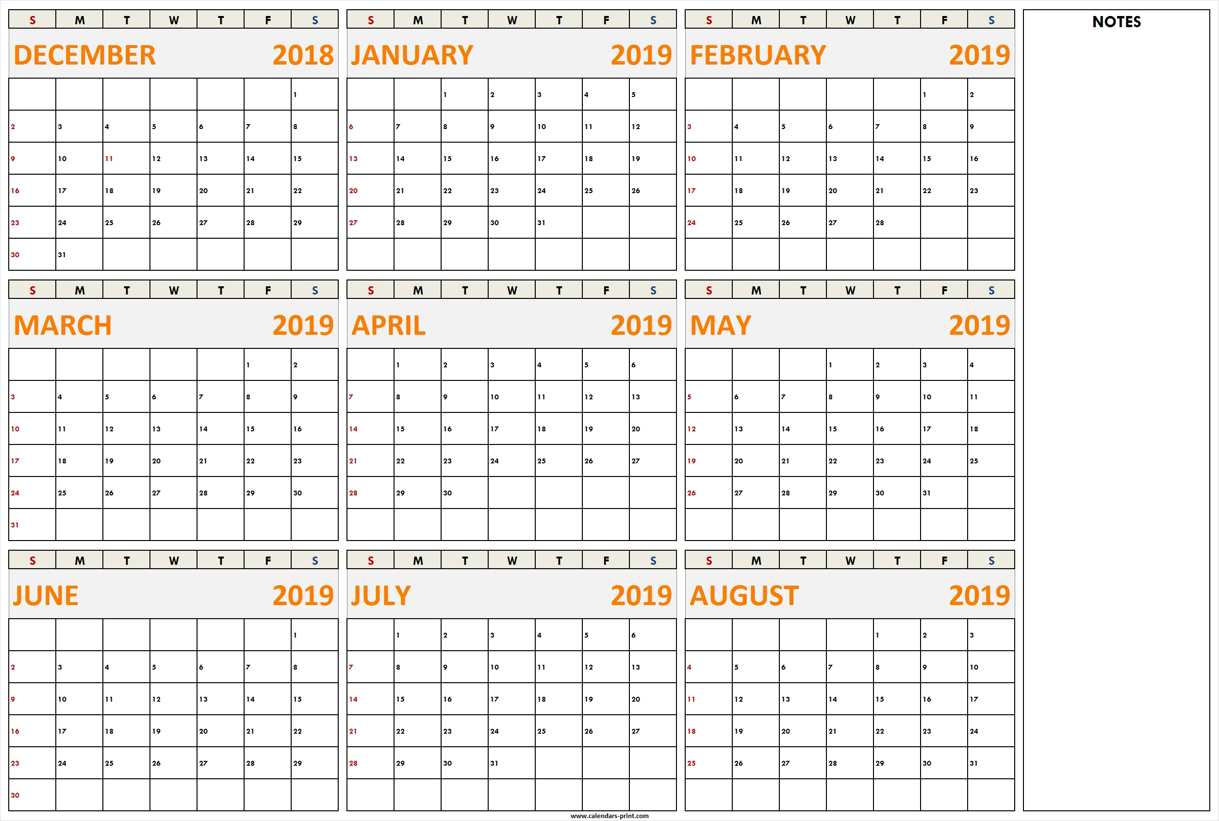 December 2018 To August 2019 Calendar Printable Template With Notes throughout Calander From August - December