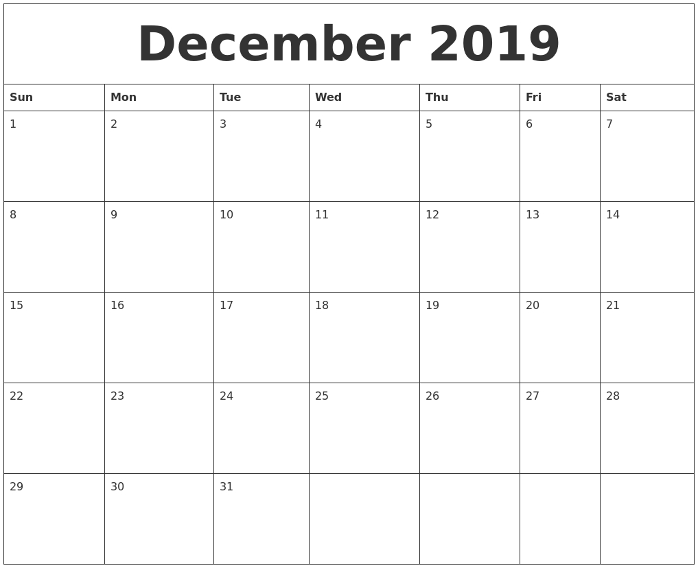 December 2019 Calendar Month with Calendar By Month Monday To Friday