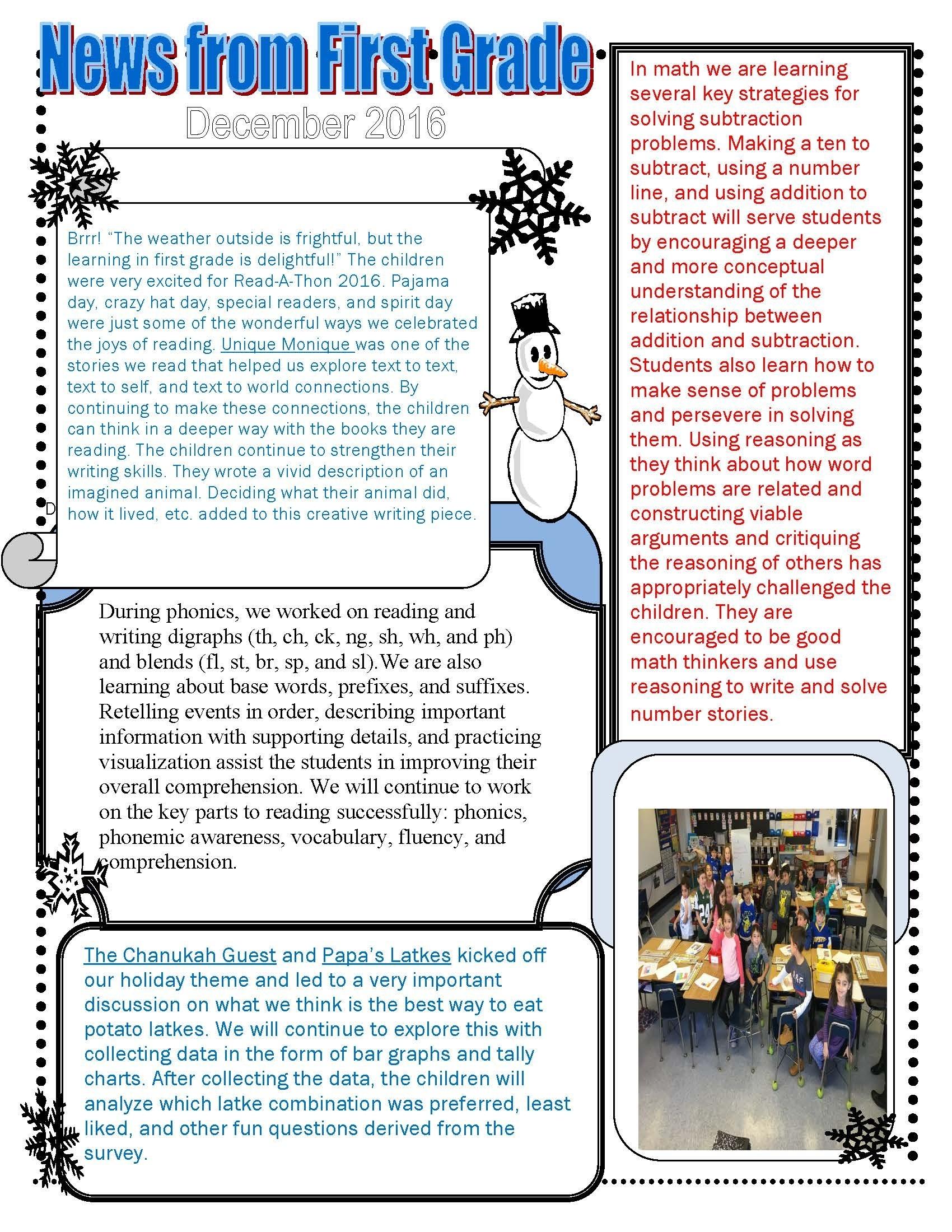 December Class Newsletters throughout 1St Grade Newsletters In 1St Grade
