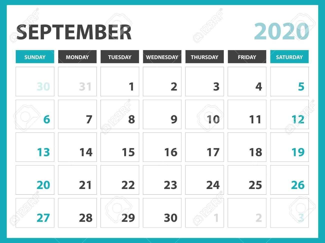 Desk Calendar Layout Size 8 X 6 Inch, September 2020 Calendar inside 10 X 8 Planner Template