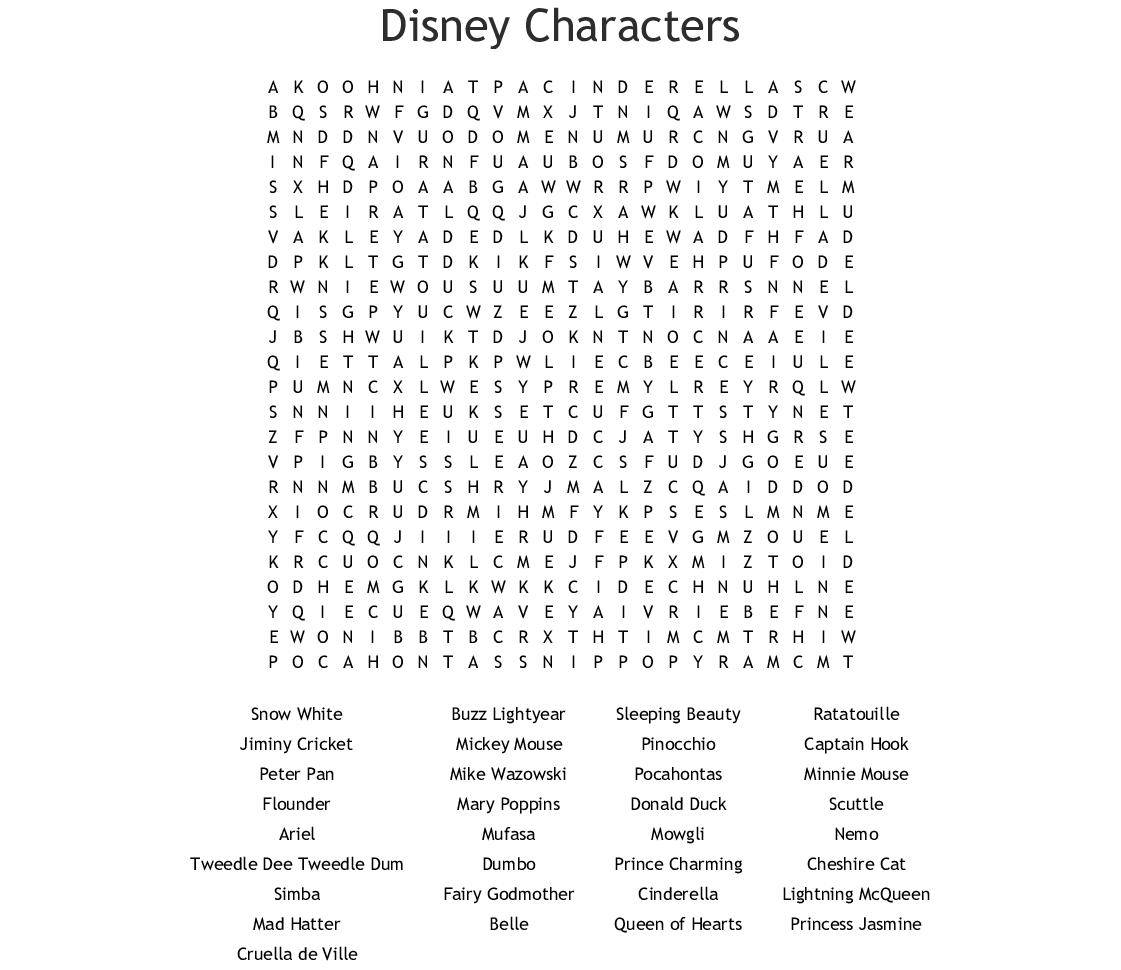 Disney Characters Word Search - Wordmint inside Disney Princess Word Search Printable