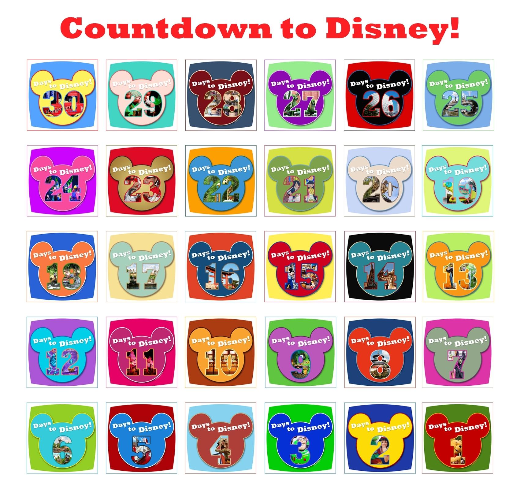Disney Countdown Calendar Printable - Printable Calendar & Birthday inside Free Printable Vacation Countdown Calendar