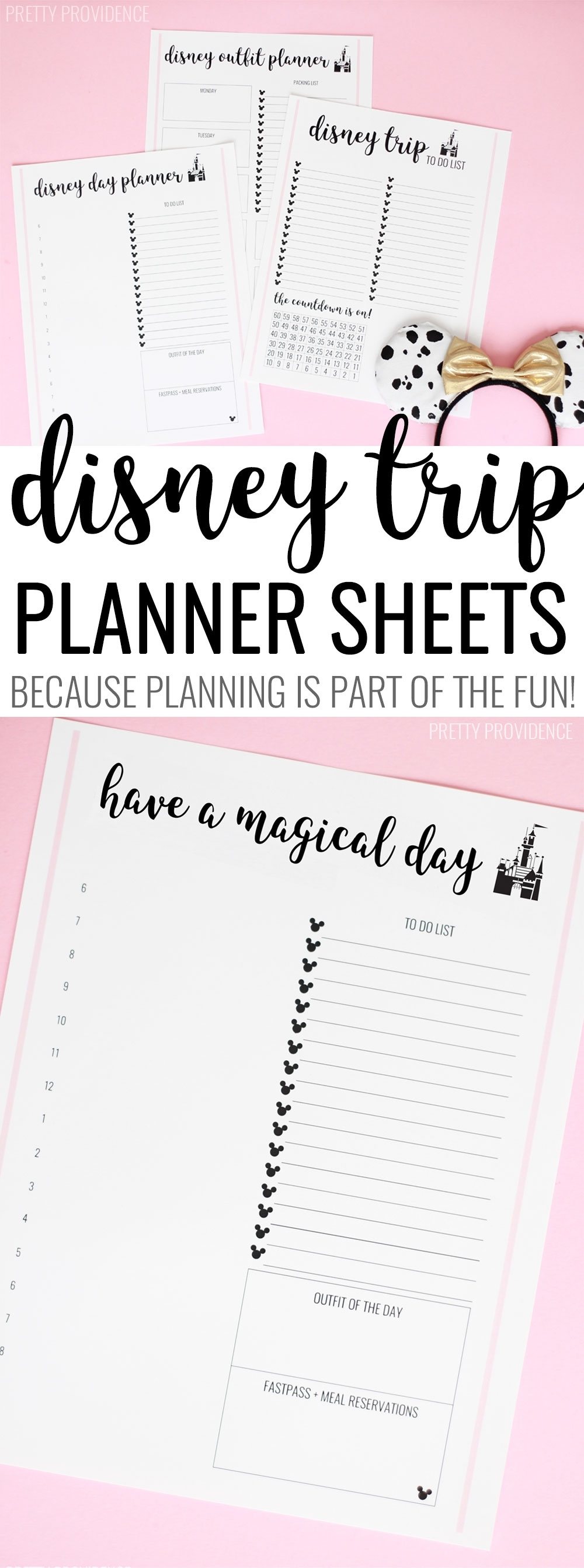 Disney Trip Planner Sheets - Pretty Providence with Disney World Printable Planning Sheets