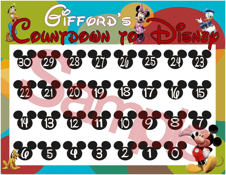 Disney Vacation Countdown Calendar In Disney Countdown Calendar in Free Printable Vacation Countdown Calendar