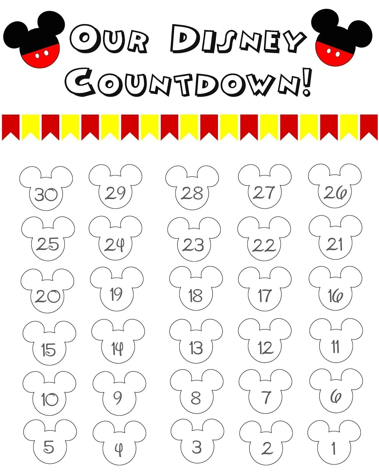 Disney World Countdown Calendar - Free Printable | The Momma Diaries with Disney Free Printable Monthly Calendar
