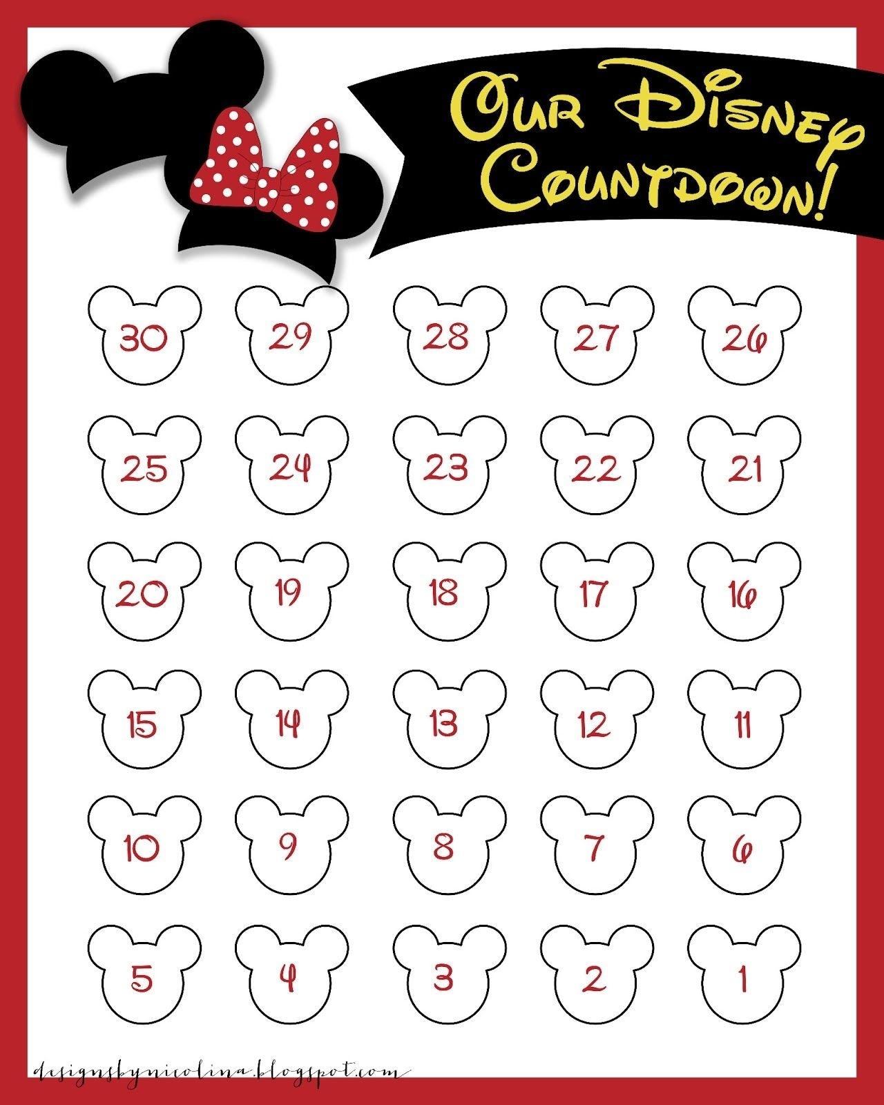Disneyland Countdown Calendar | Designsnicolina: Disney intended for Free Printable Vacation Countdown Calendar