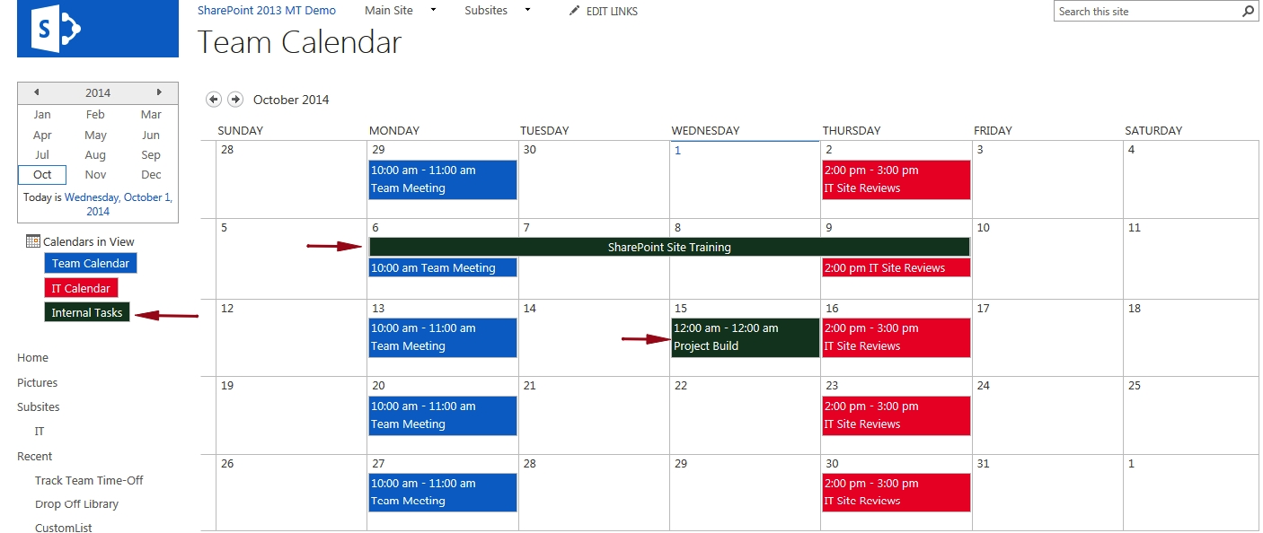 Display A Task List On A Master Calendar with Sharepoint 2013 Calendar Overlay Settings