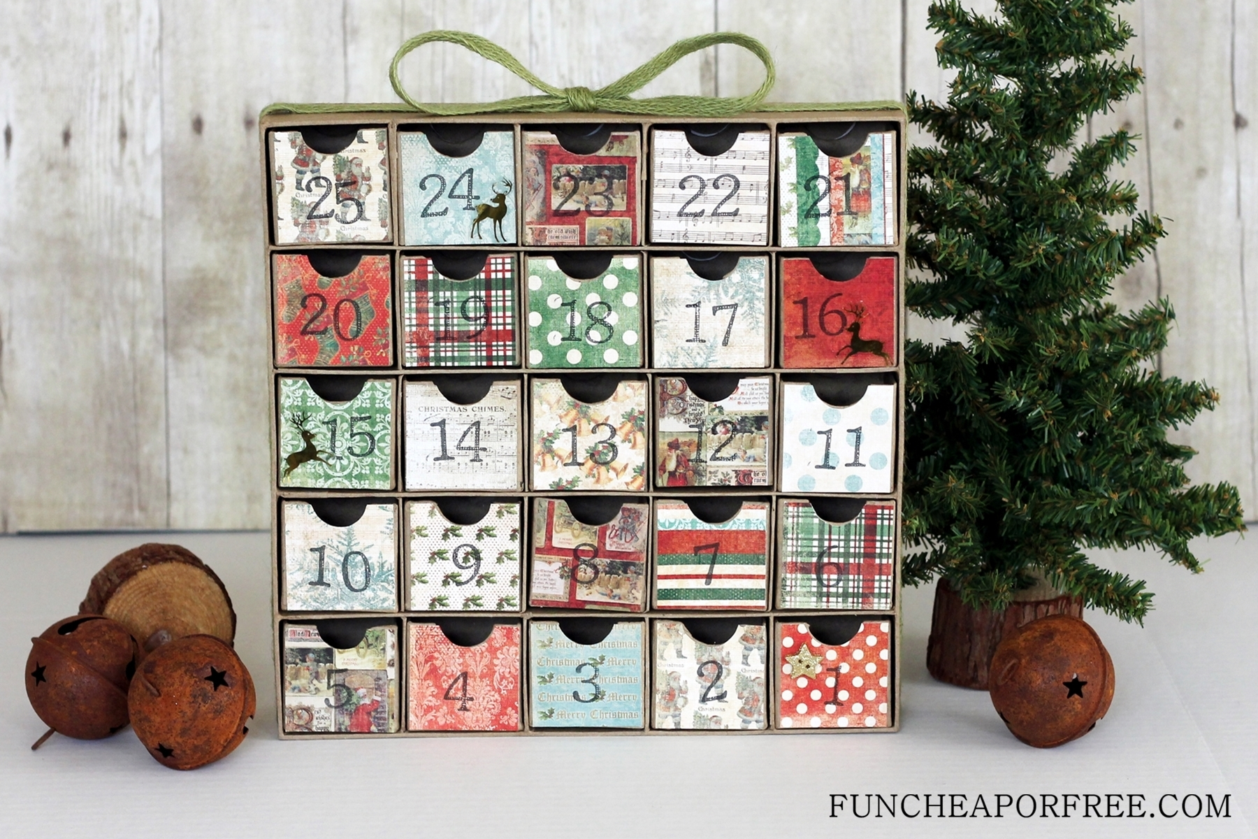 Diy Advent Calendarall You Need Is Scrapbook Paper! - Fun Cheap throughout Wooden Shadow Box Advent Calendar