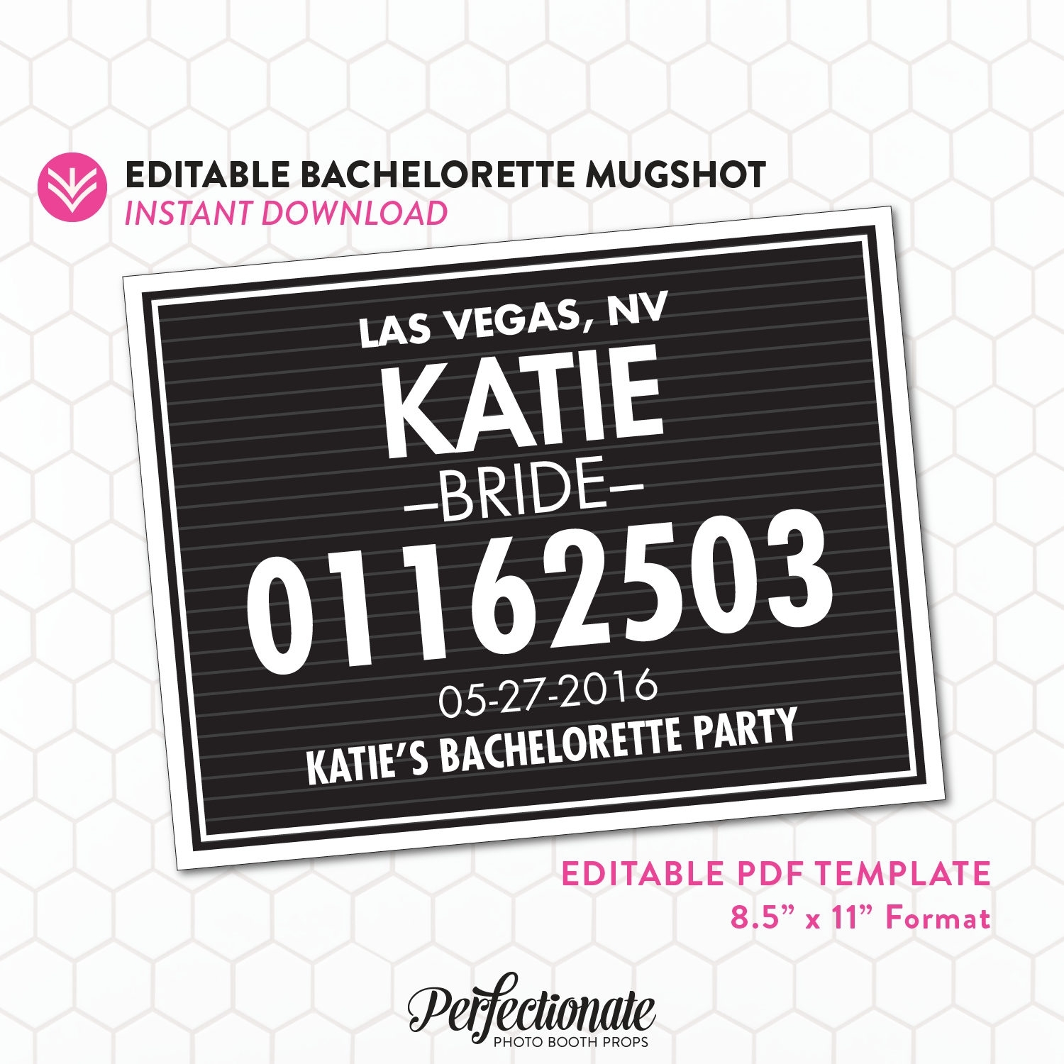 Diy Bachelorette Mugshot Sign Template Unlimited Personal | Etsy in Bachelorett Fill In Blank Templets