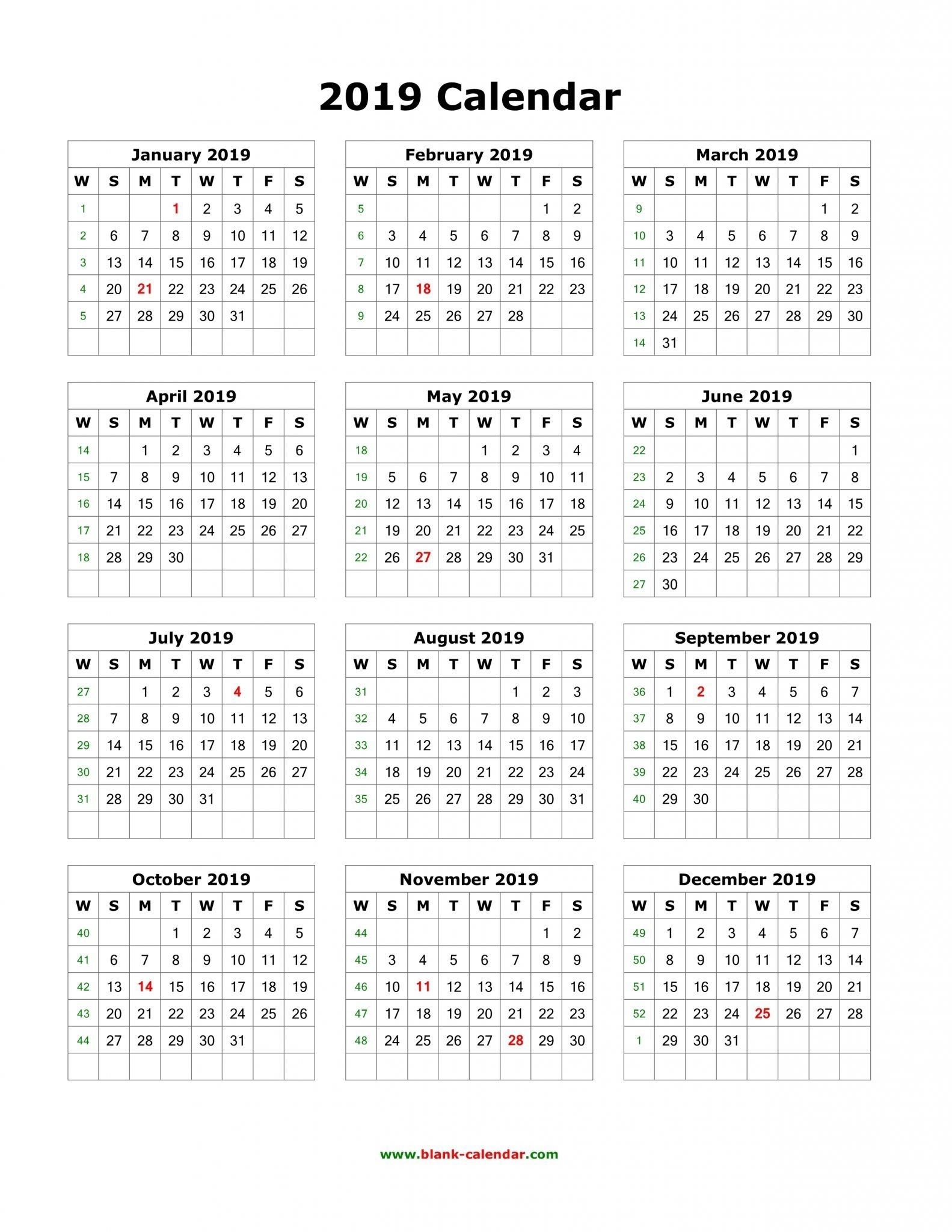 Download Blank 2019 Calendar Templates | 12 Month Calendar In One in 12 Month Calendar Print Out