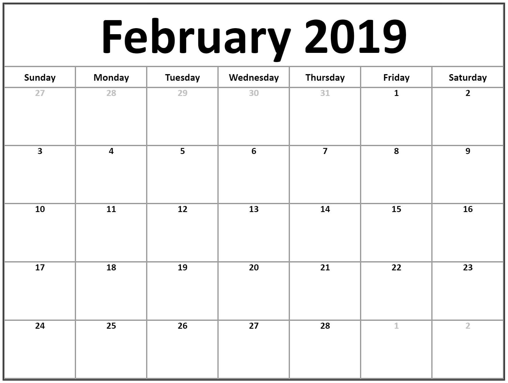 Download Free February 2019 Blank Calendar Templates | Template pertaining to Blank Monthly Calendar To Download Free
