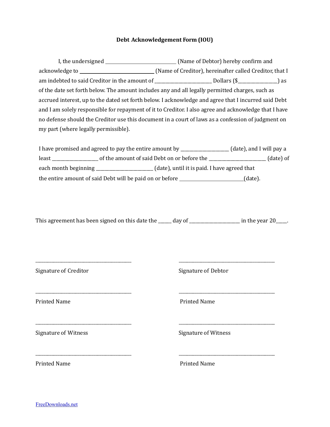 Download Iou (I Owe You) Debt Acknowledgment Form | Pdf | Rtf | Word inside Free Printable Blank Templates For Paid And Owed