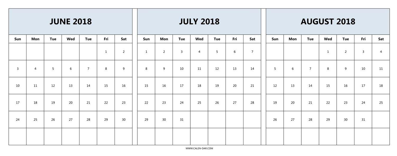 Download June July August 2018 Calendar Printable Free | 2018 inside Calender For June And July