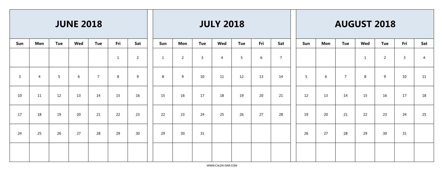 Download June July August 2018 Calendar Printable Free | 2018 within July And August Blank Calendar