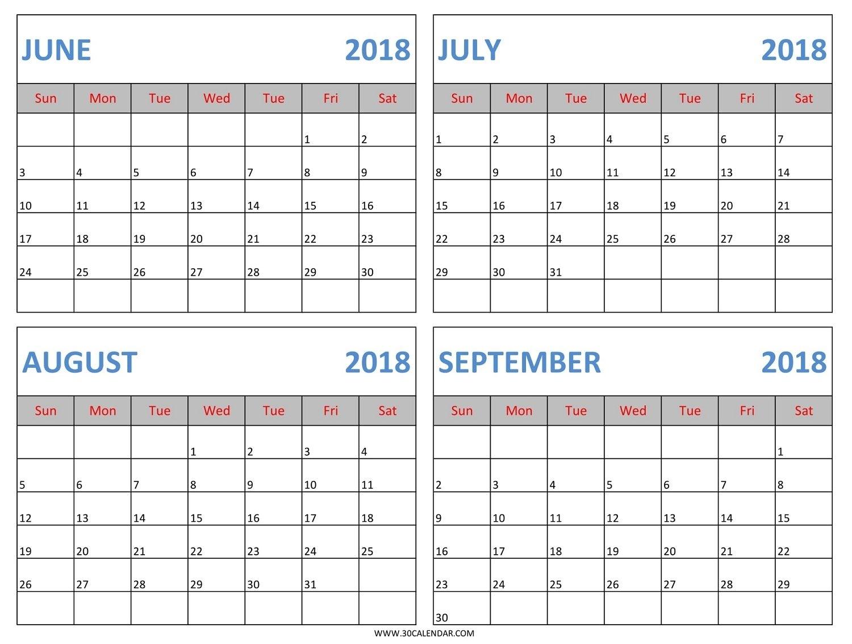 Download June July August September 2018 Calendar Template In Excel in August And Septembercalendar Free Printables