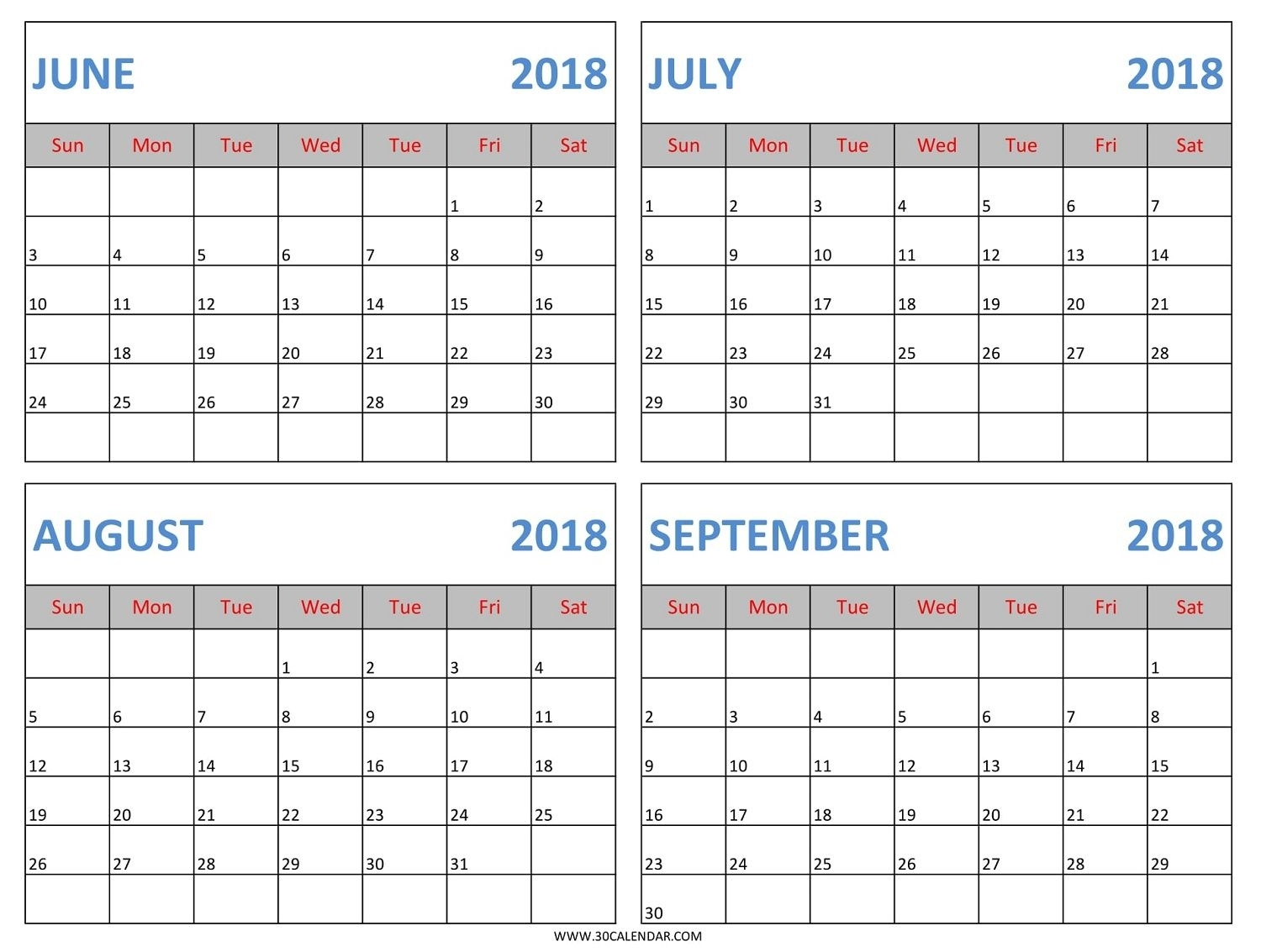 Download June July August September 2018 Calendar Template In Excel inside August And Septmber Calendar Together