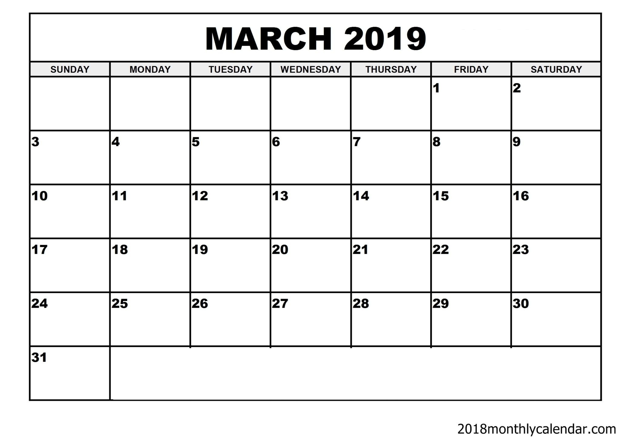 Download March 2019 Calendar – Blank Template - Editable Calendar with Empty Monthly Calendar Print Out