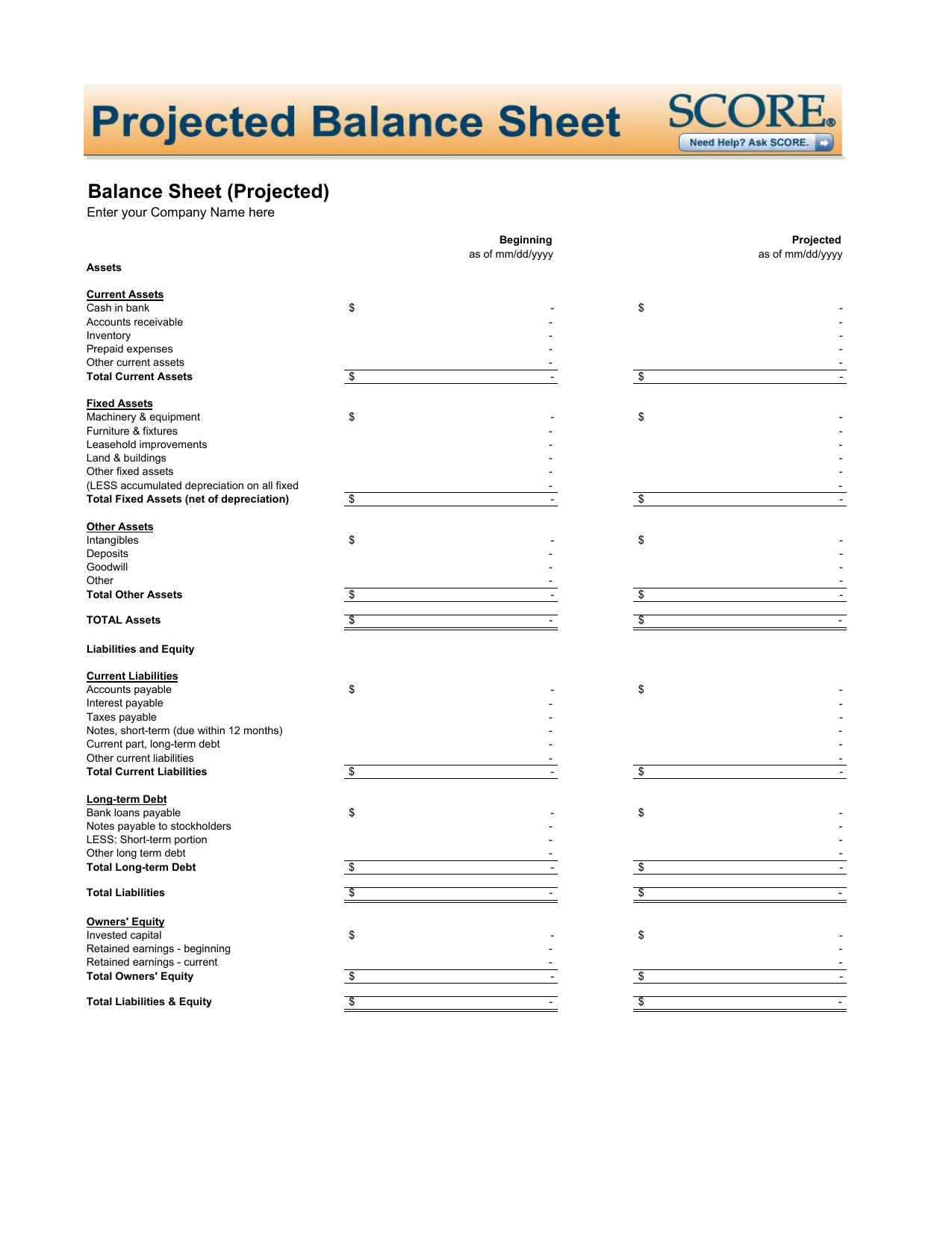 Download Projected Balance Sheet Template | Excel | Pdf | Rtf | Word throughout Mothly Bill Payment Balance Sheet Blank