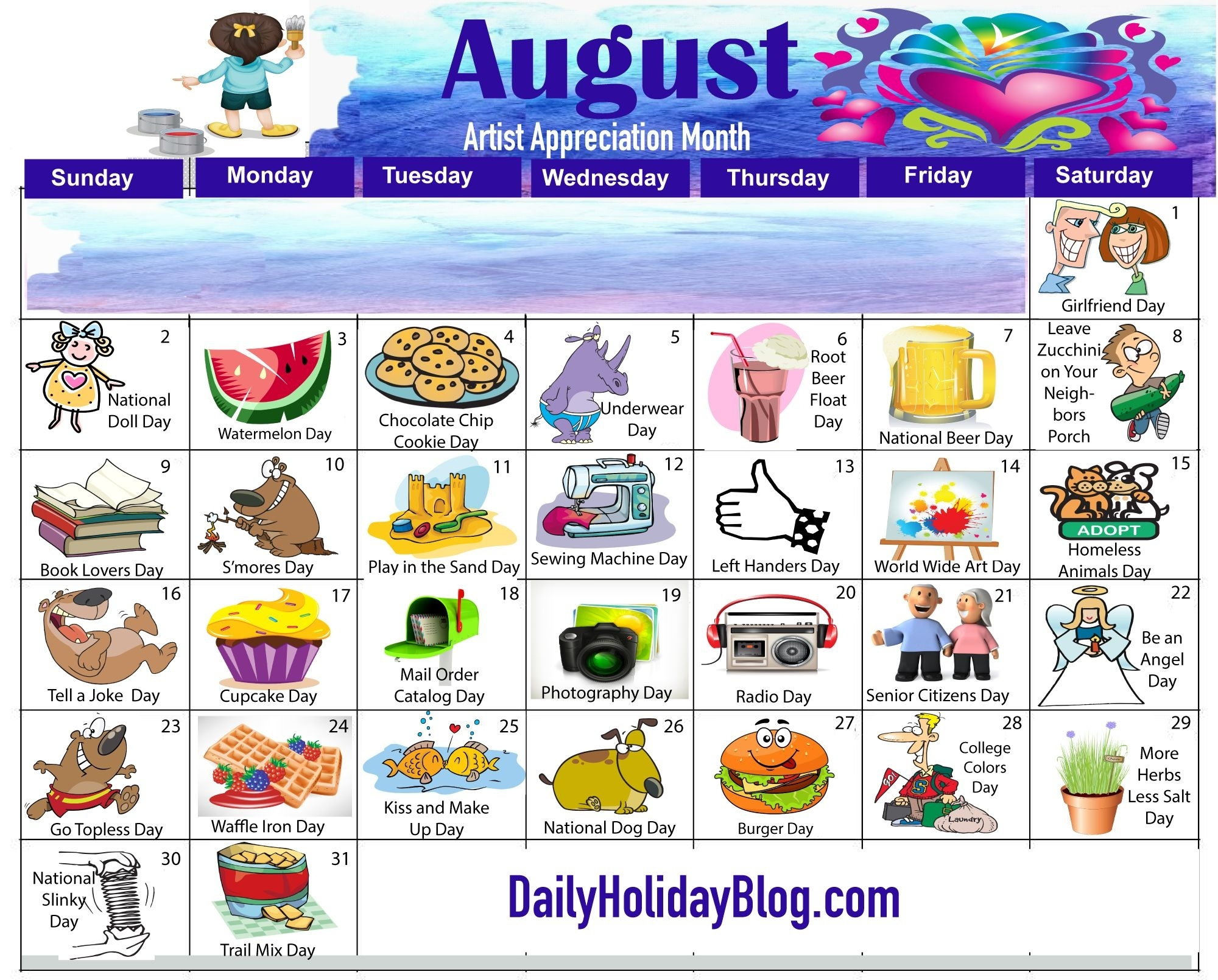Download Your Free August Calendar! | Daily Holiday Blog | Holiday throughout Images National Day August 23