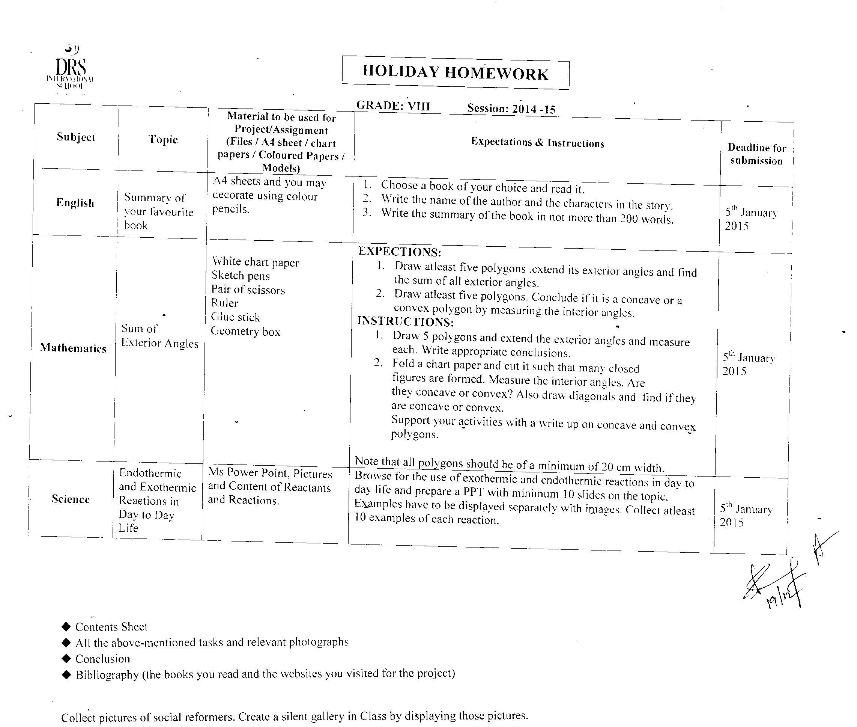 Drs International School regarding Holiday Hw For Grade 1