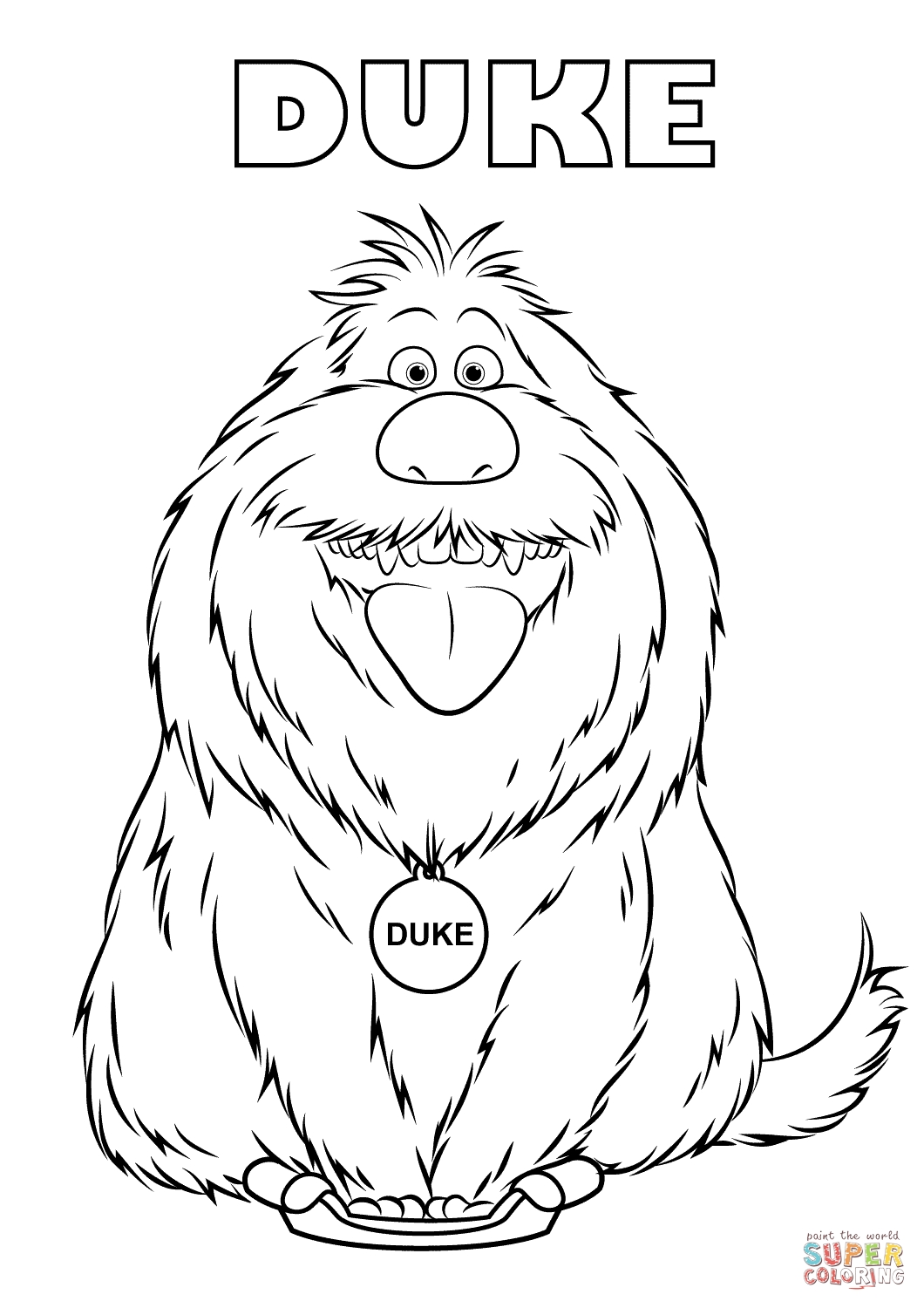 Duke From The Secret Life Of Pets Coloring Page | Free Printable inside August Printable Images To Color