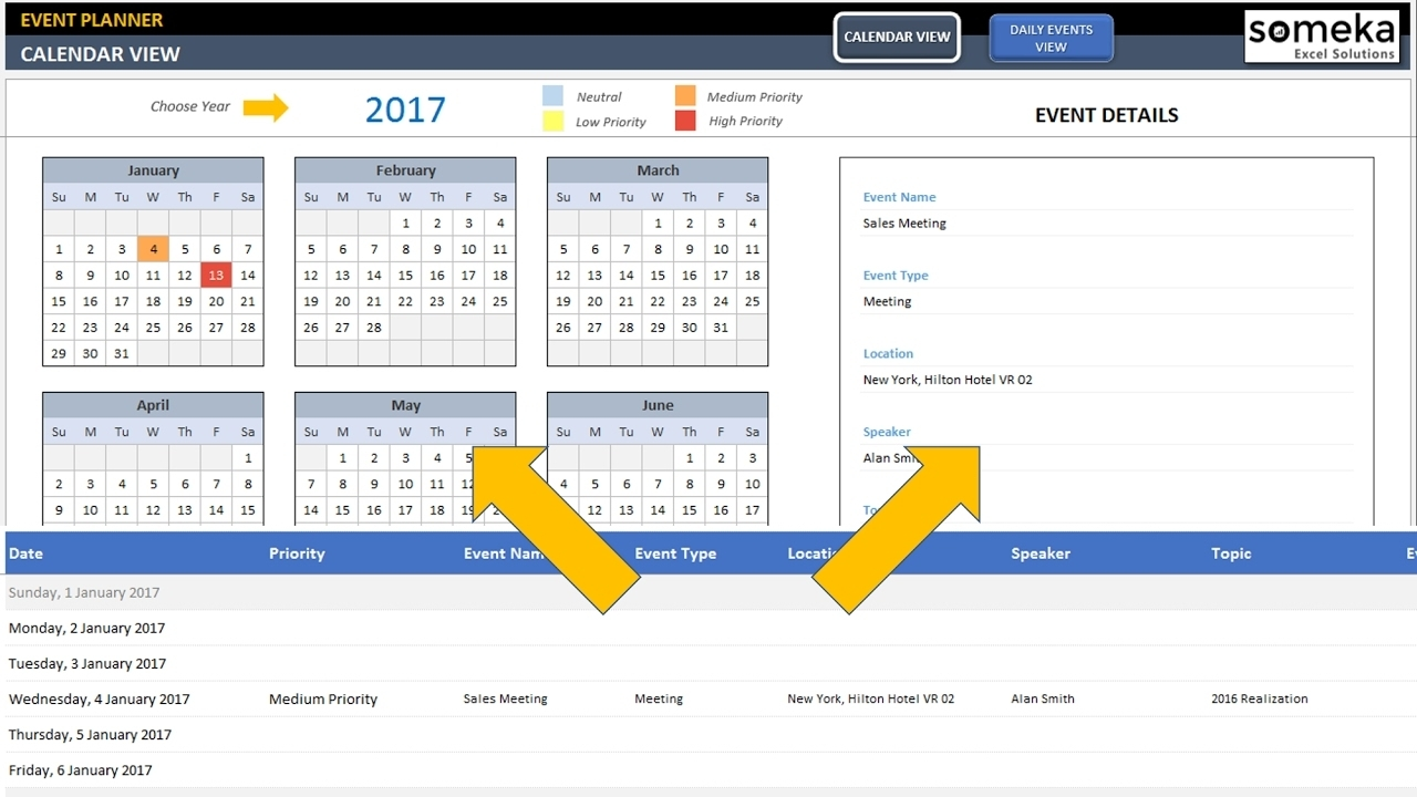 Dynamic Event Calendar - Excel Template - Youtube with regard to Outlook 2007 Calendar Event Template