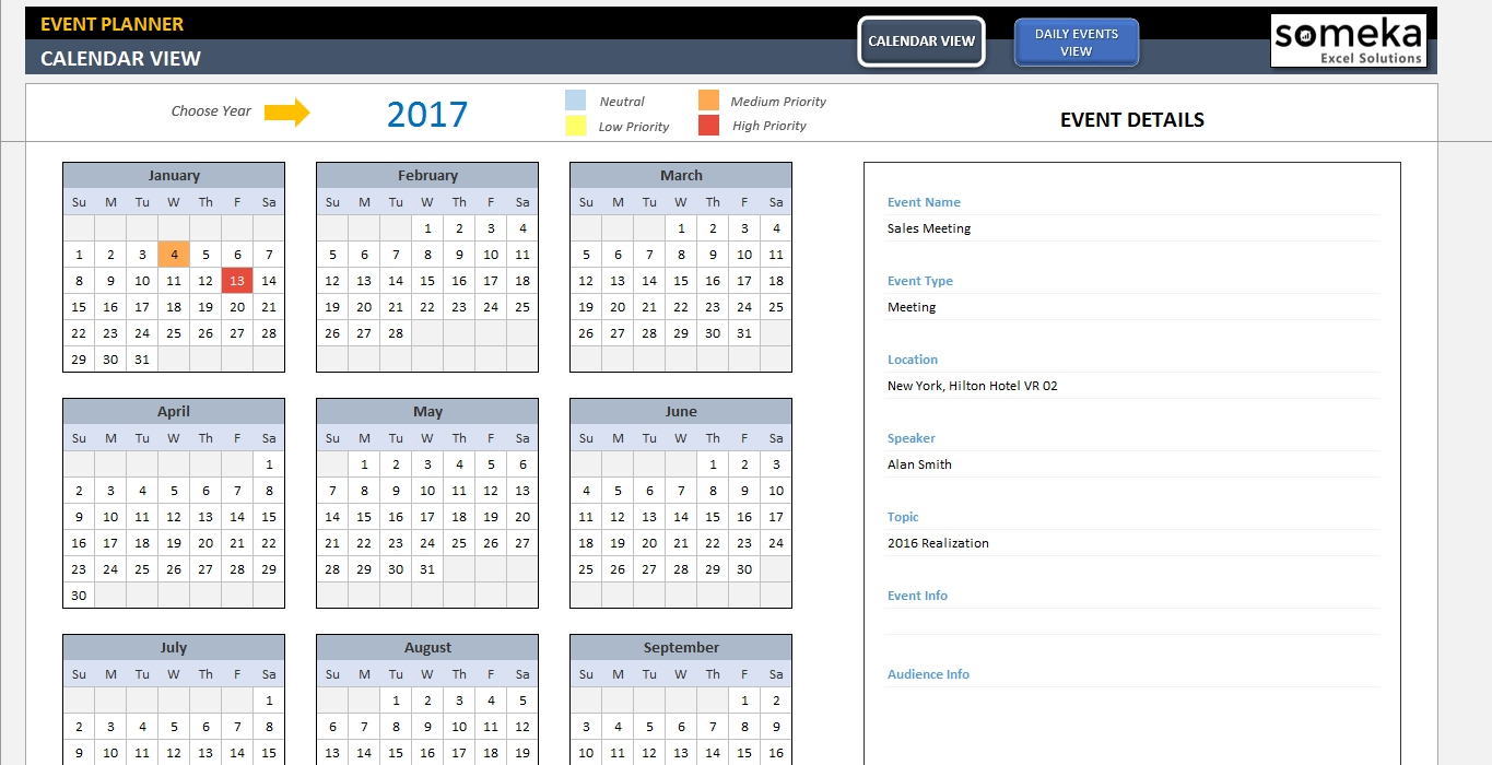 Dynamic Event Calendar - Interactive Excel Tempate throughout Template For An Event Calendar