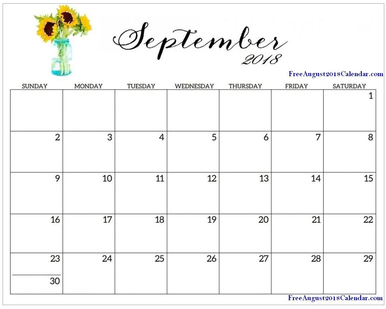 ✅ September 2018 Printable Calendar, Blank Templates | Printable in Print Out Of September Calendar