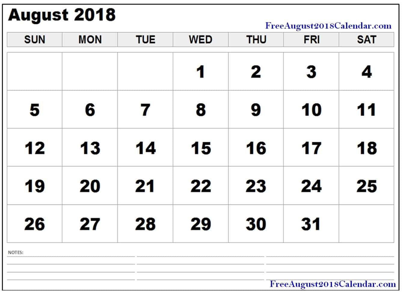 ✅ Top 25+ Free August 2018 Calendar Pdf Word Page Excel Landscape in Numbers Free Printable Calendar For August