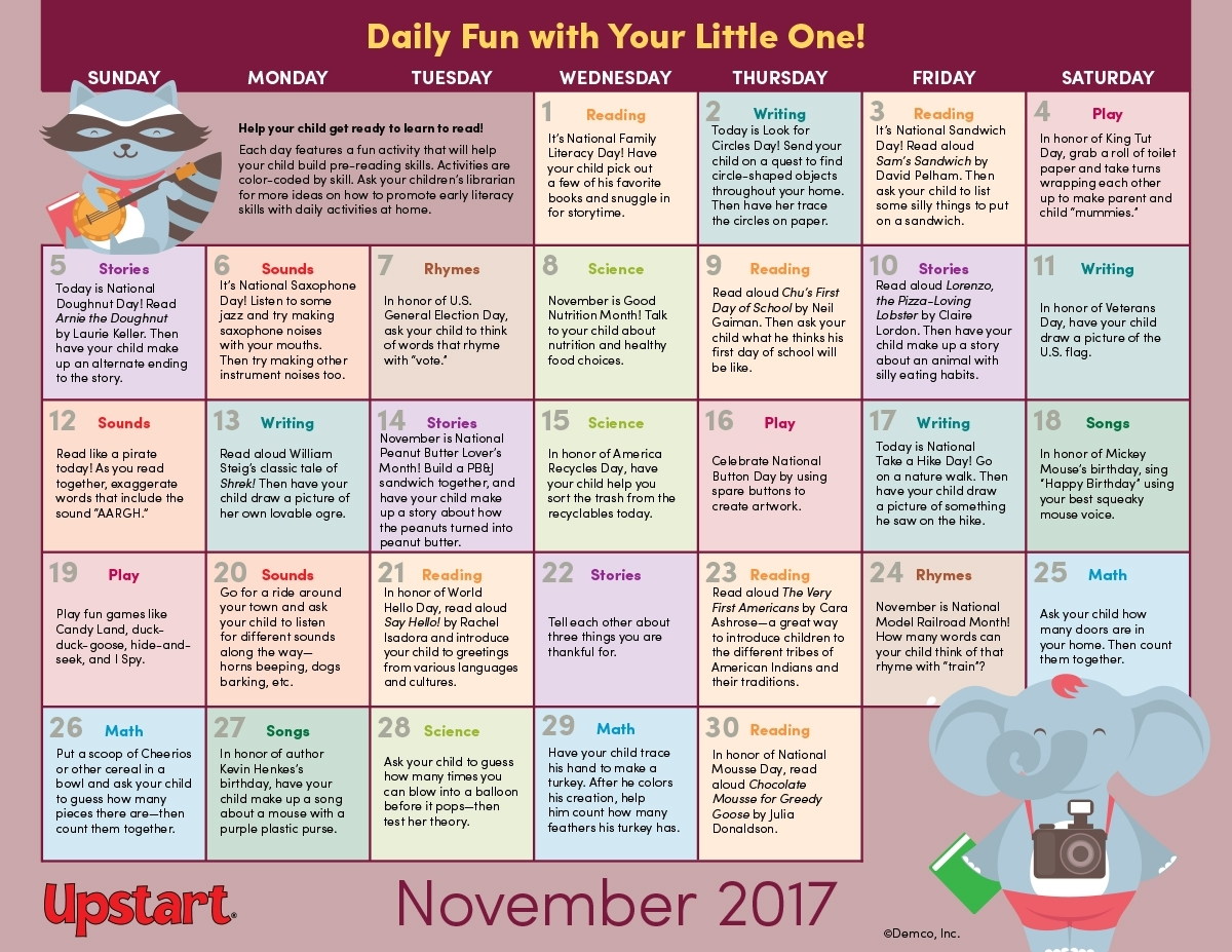 Early Literacy Activity Calendar: November 2017 in Ideas For Calendar In November