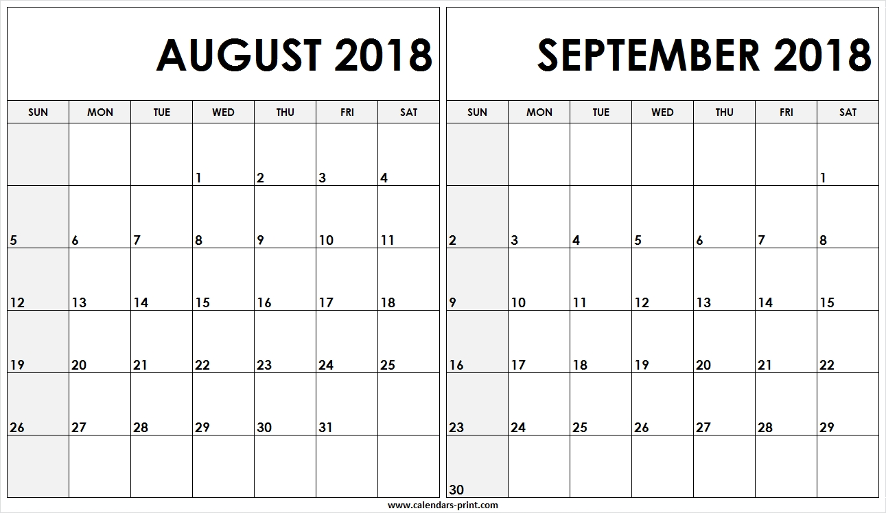 Editable August September 2018 Calendar Printable Template In Excel pertaining to August And Septembercalendar Free Printables