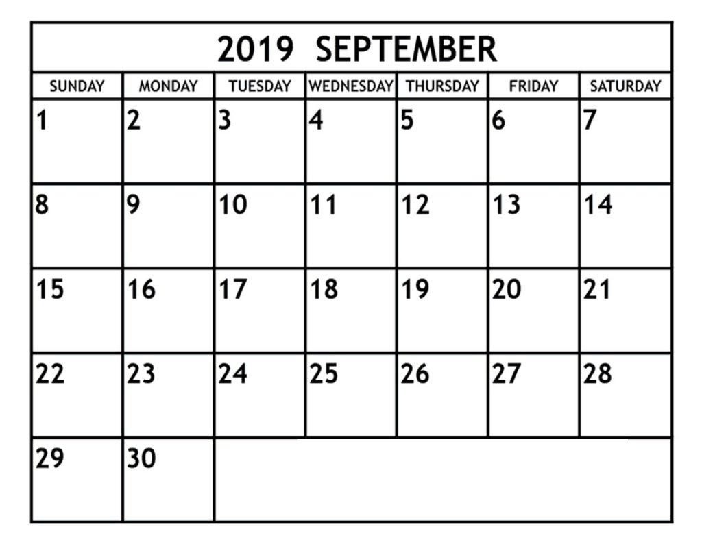 Editable September 2019 Printable Calendar Blank Template - Daily regarding Blank Screensaver Template To Print