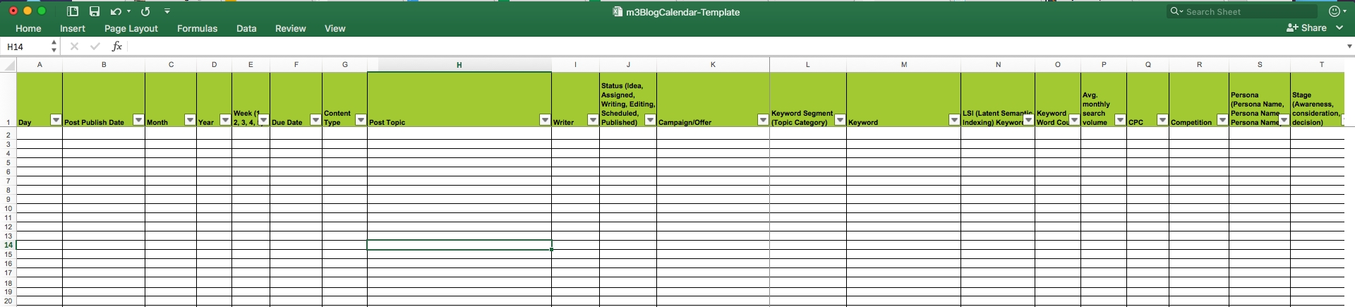 Editorial Calendar Templates For Content Marketing: The Ultimate List for Social Media Posting Calendar Template Free Printable Excel