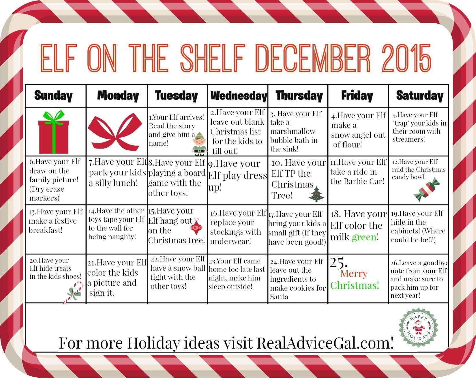 Elf On The Shelf Calendar - Ideas For December | X-Mas | Elf On The for 12 Month Photo Calendar Ideas Naughty