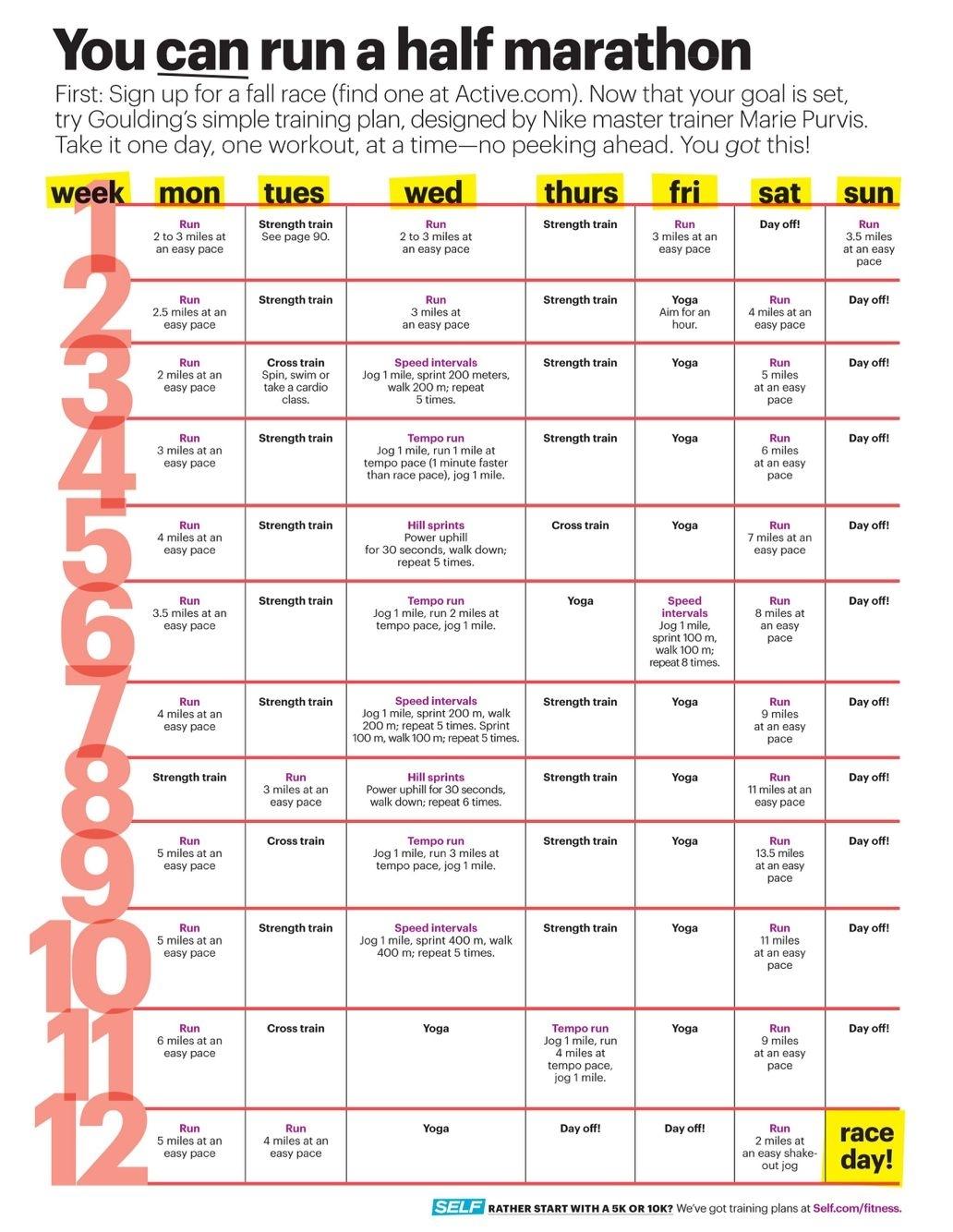 Ellie Goulding 12 Week Half Marathon Training Guide. My Favorite in 12 Week Blank Printable Calendar For Running